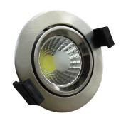 LED spotlámpa, 8W, COB, kerek, billenthető, inox,